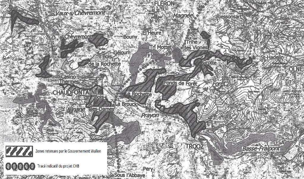 """Zones retenues par le Gouvernement wallon à l'inscription """"Natura 2000"""" et proposées à la commission Europenne."""